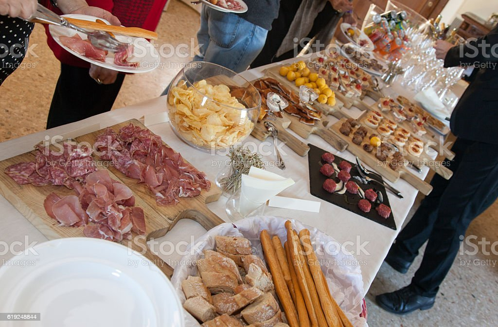 Buffet table at a party stock photo