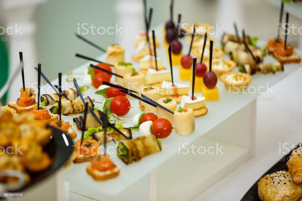 buffet table food stock photo