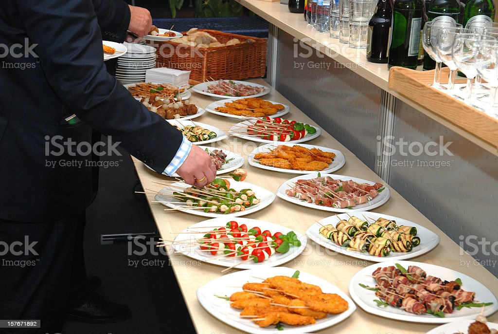 buffet with finger-food starters royalty-free stock photo