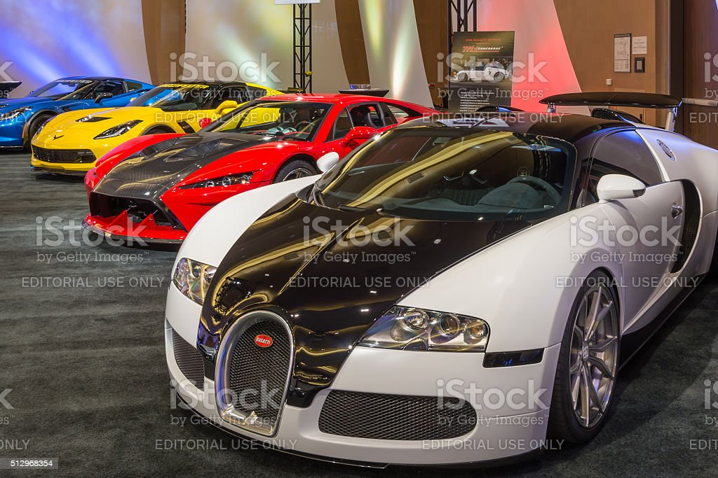 Bugatti Veyron, Falcon F7, and  Lingenfelter Z06 Corvette stock photo