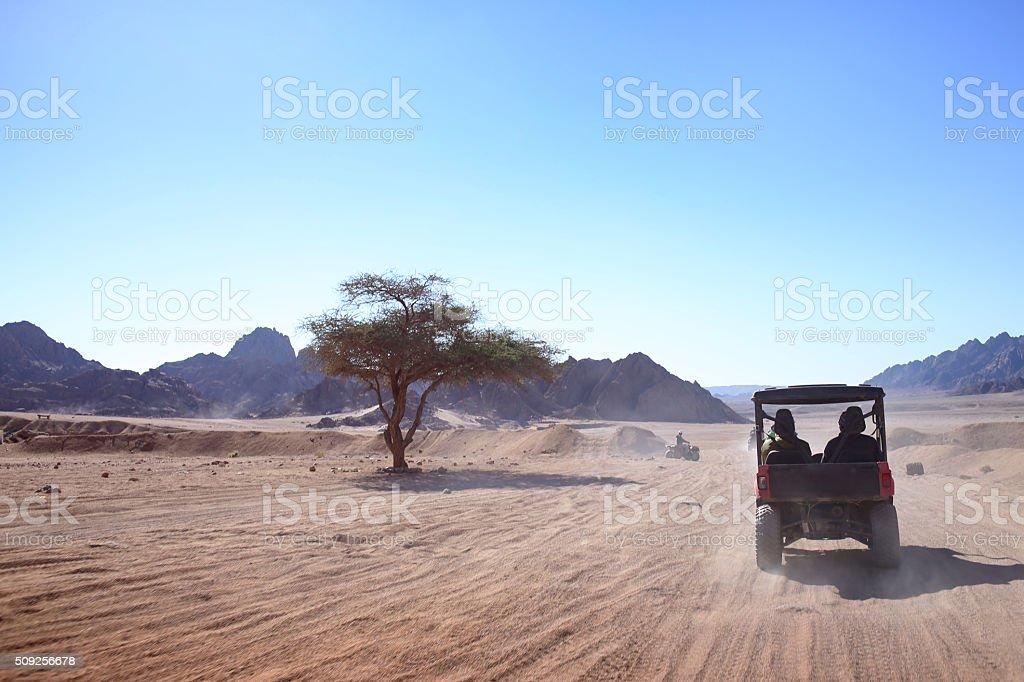 Buggies in sand desert, Egypt stock photo