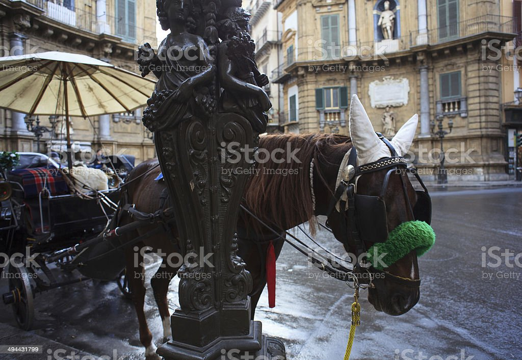 Buggy in the Quattro Canti, Palermo stock photo