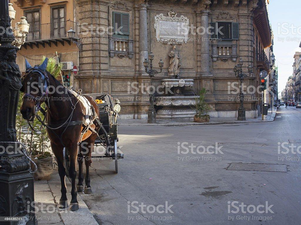 Buggy in the Quattro Canti square, Palermo stock photo