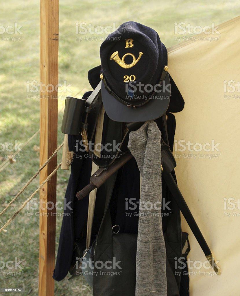 Bugle Boy cap, uniform, gear from American Civil War. stock photo