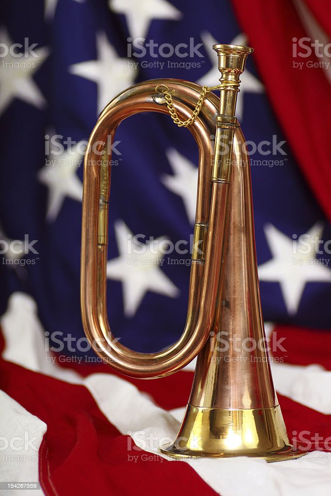 Bugle with flag stock photo