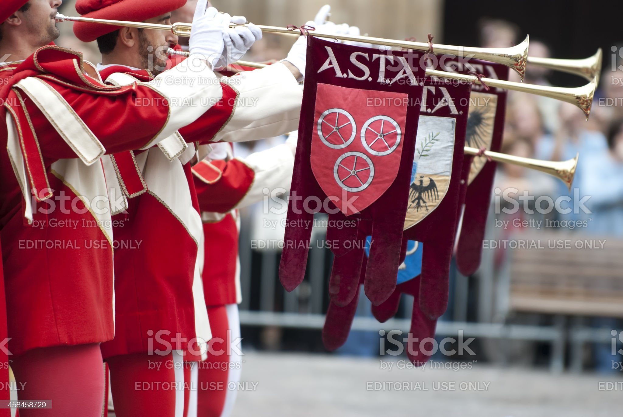 Bugler in medieval reenactment costumes royalty-free stock photo