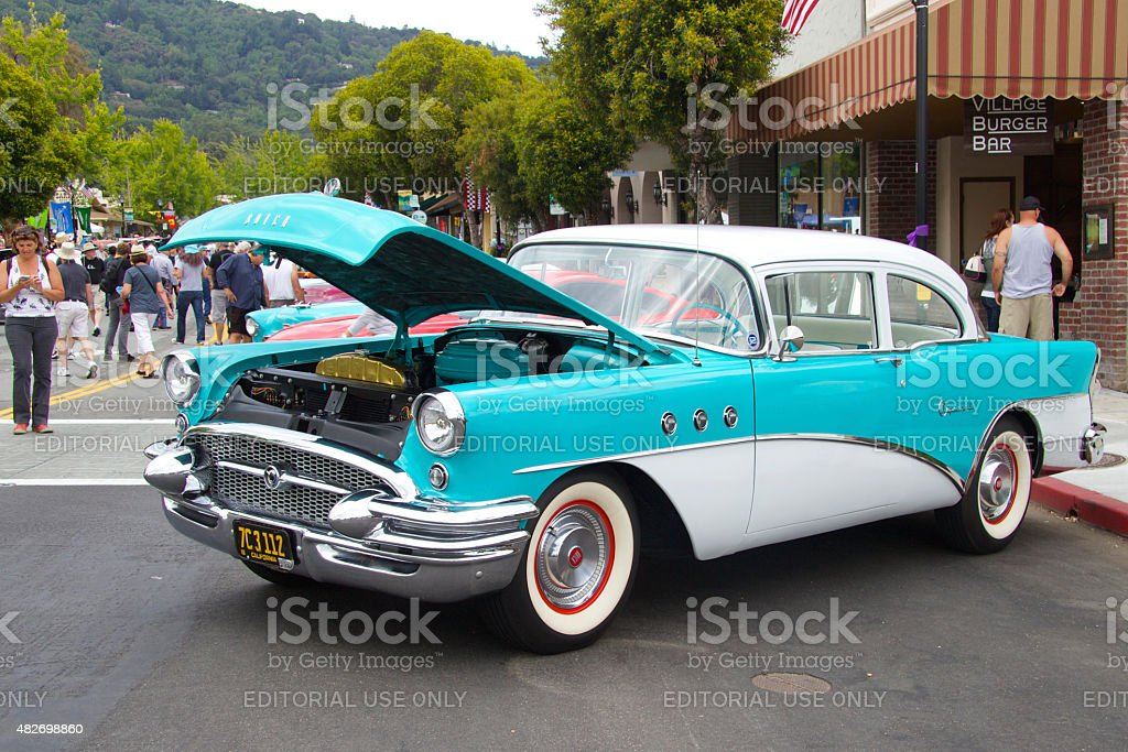 Buick Special 1955 with an open hood stock photo