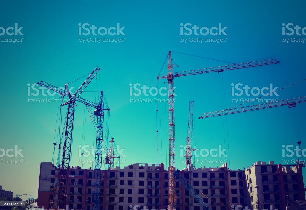 build a house, building site,construction of houses stock photo