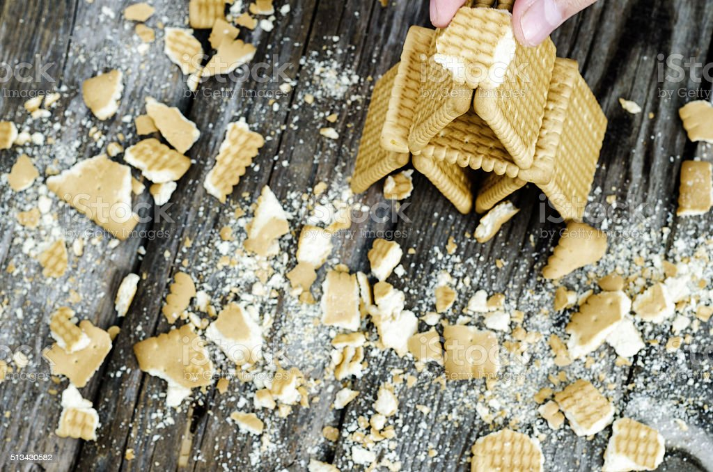 Build a tower of biscuits taken from the above stock photo