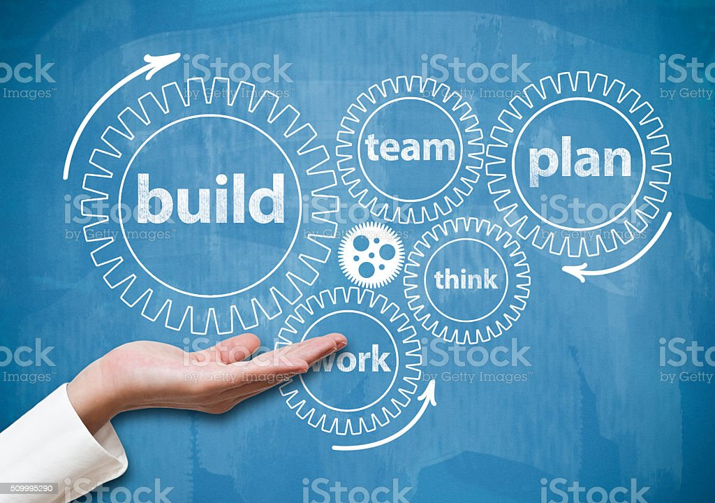 Build wheels / Blue background (Click for more) stock photo