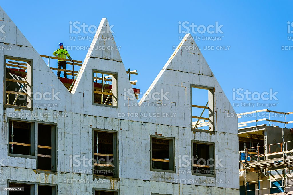 Builder at building site in Kalmar city stock photo