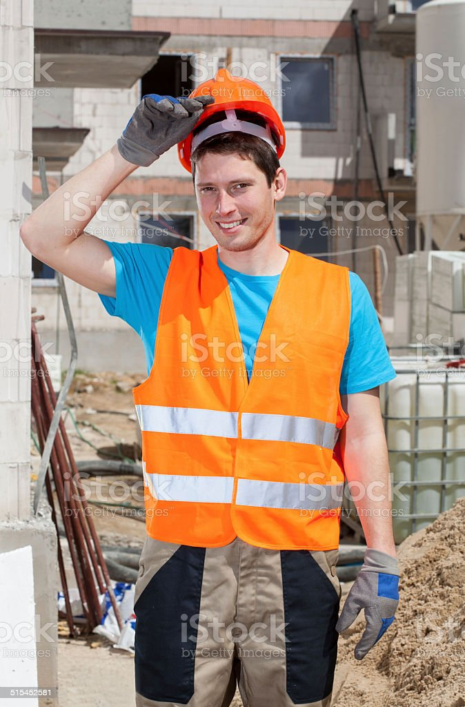 Builder during work stock photo