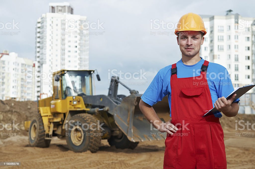 Builder inspector at construction area royalty-free stock photo