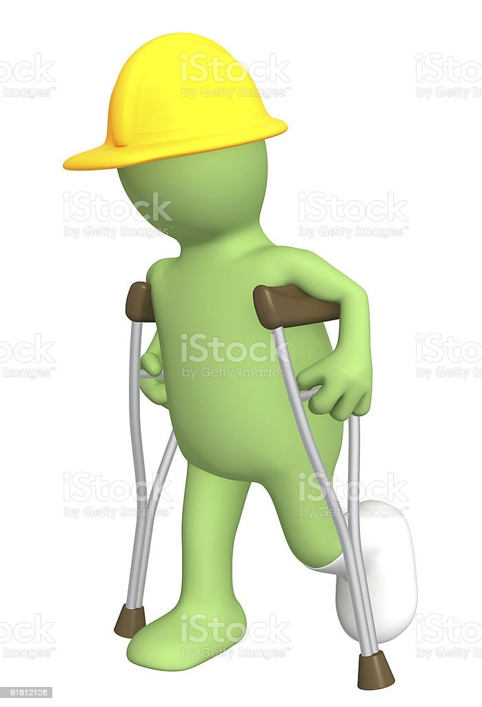 Builder with crutches royalty-free stock photo