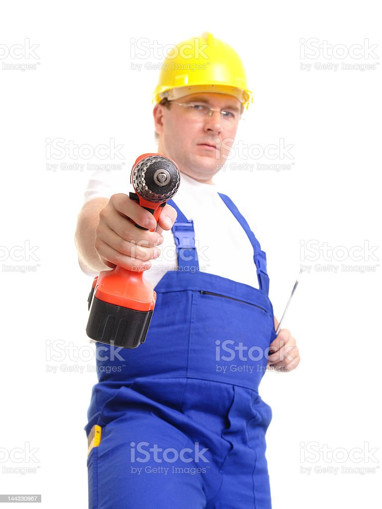 Builder with driller royalty-free stock photo