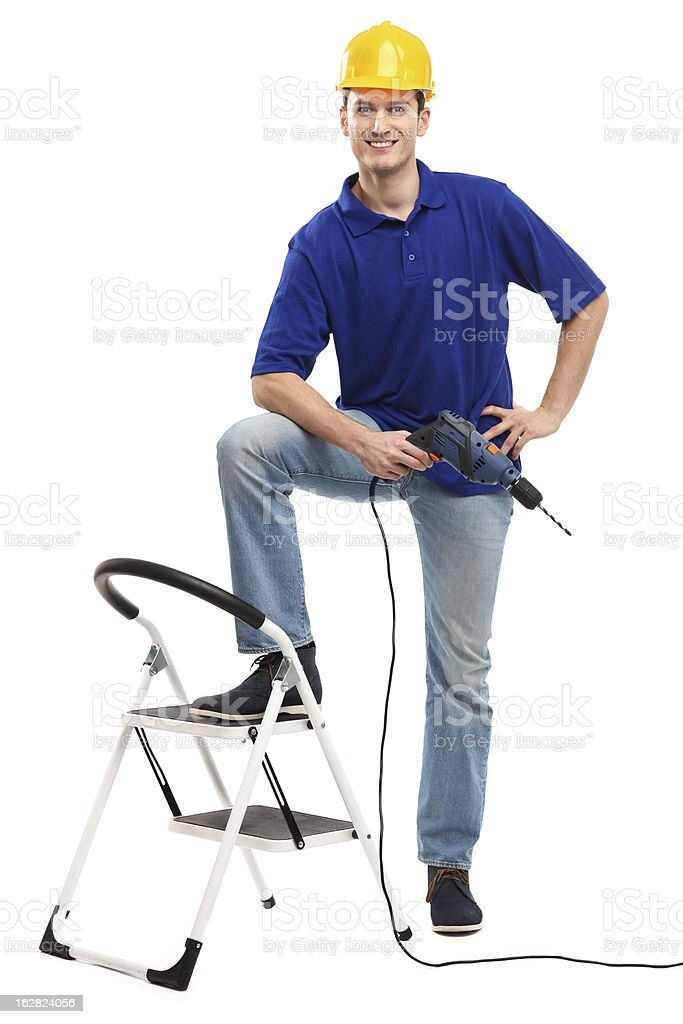 Builder with ladder and drill royalty-free stock photo
