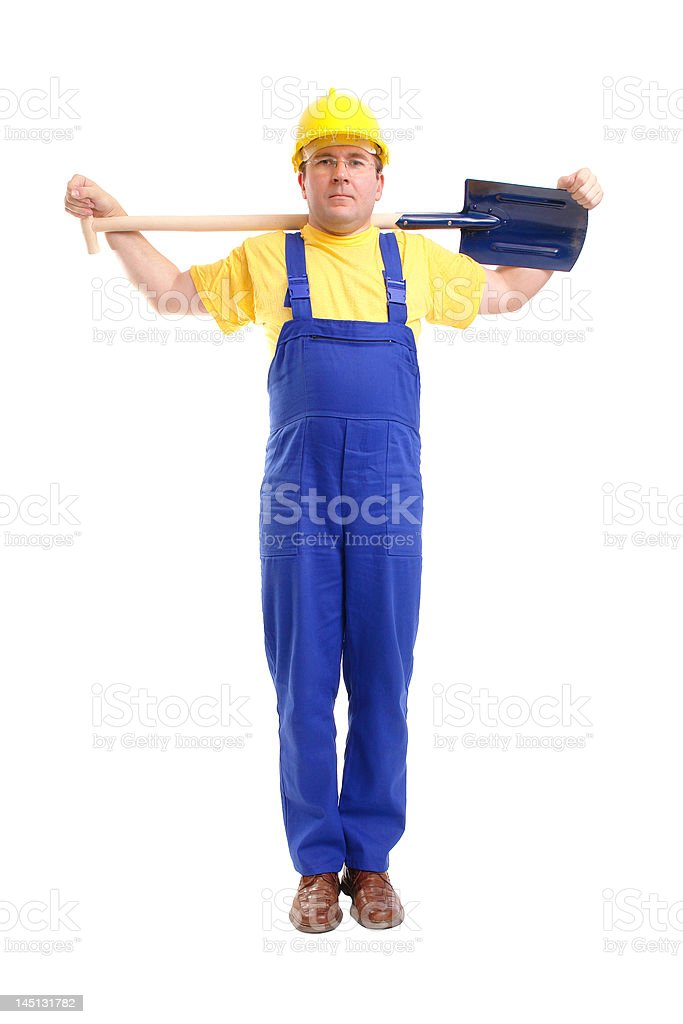 Builder with shovel royalty-free stock photo
