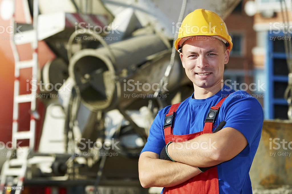 builder worker at construction site stock photo