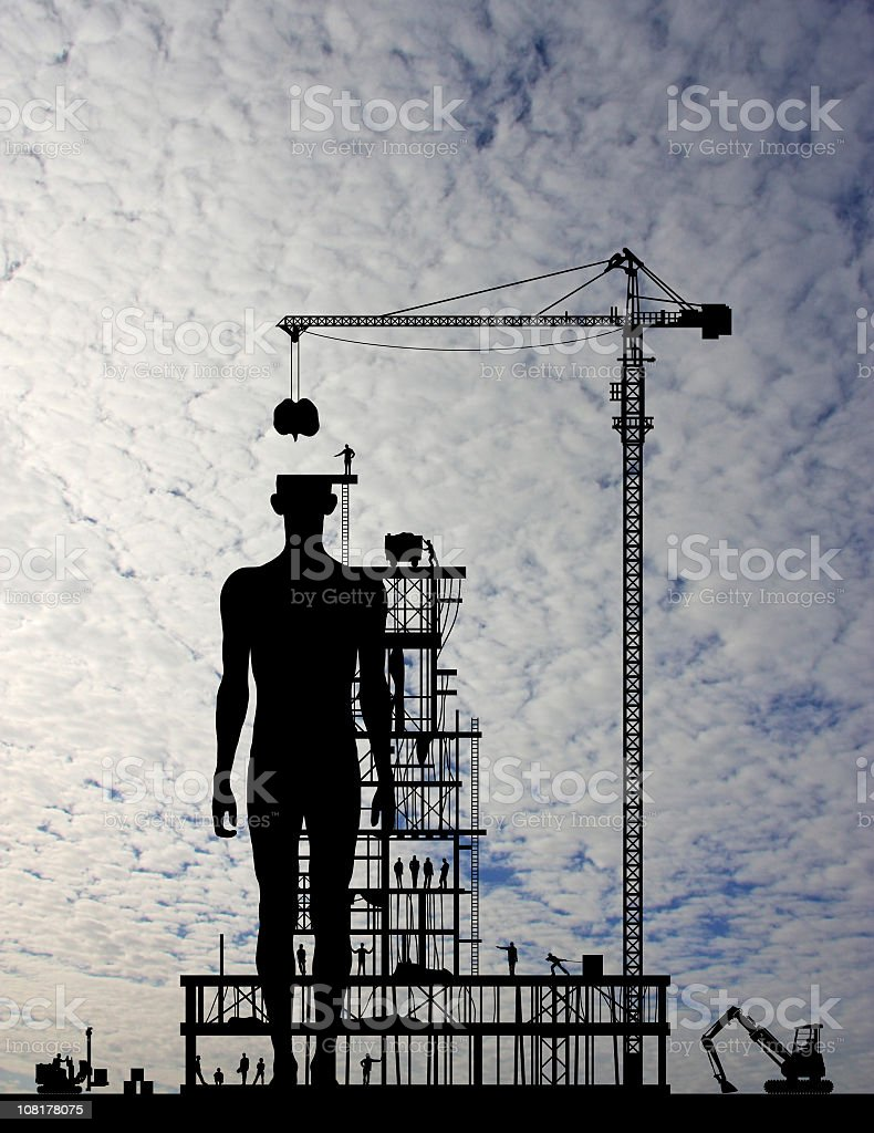 Builders Making a New Human stock photo