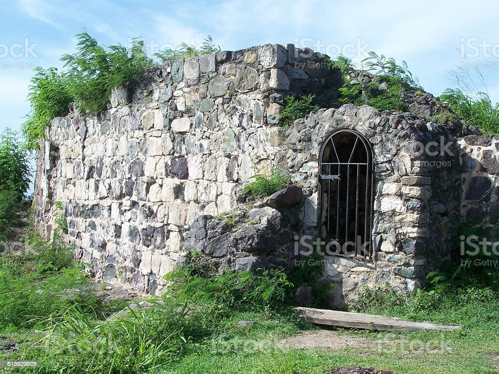 Building 1789 Fort Louis Ruins Marigot, St Martin Caribbean stock photo