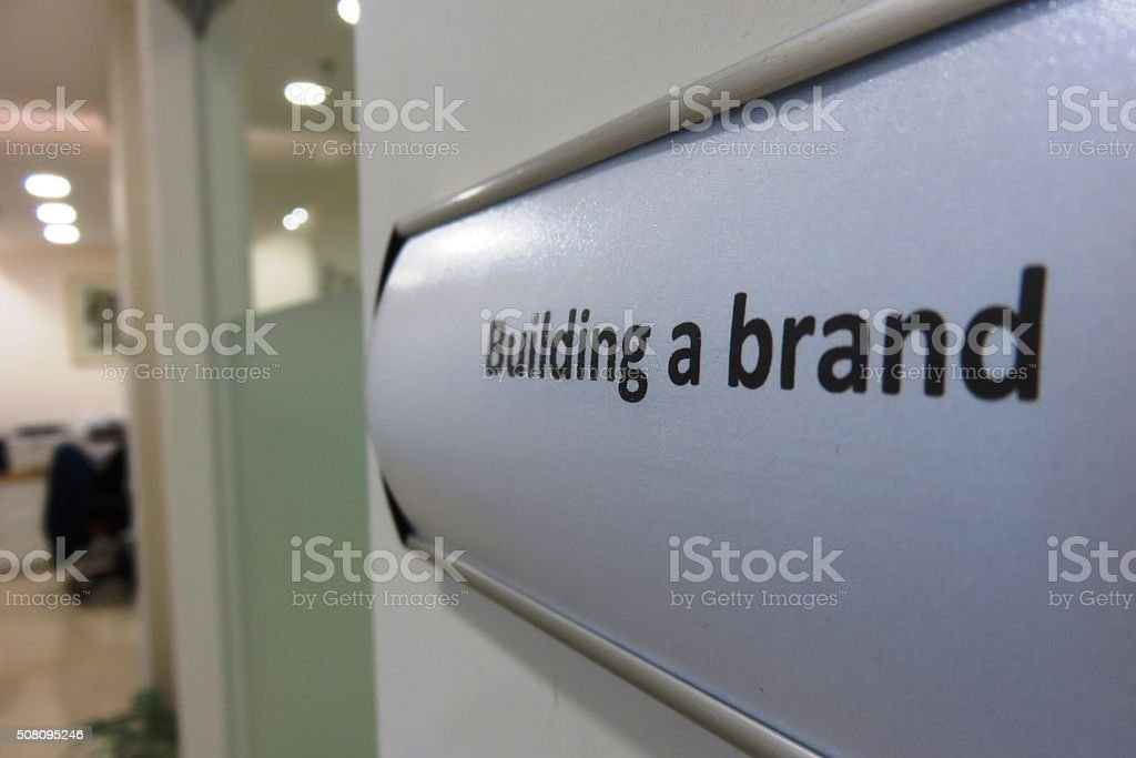 Building a brand sign stock photo