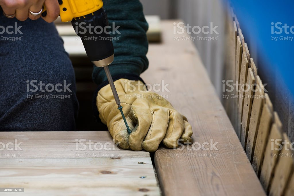 Building a deck stock photo