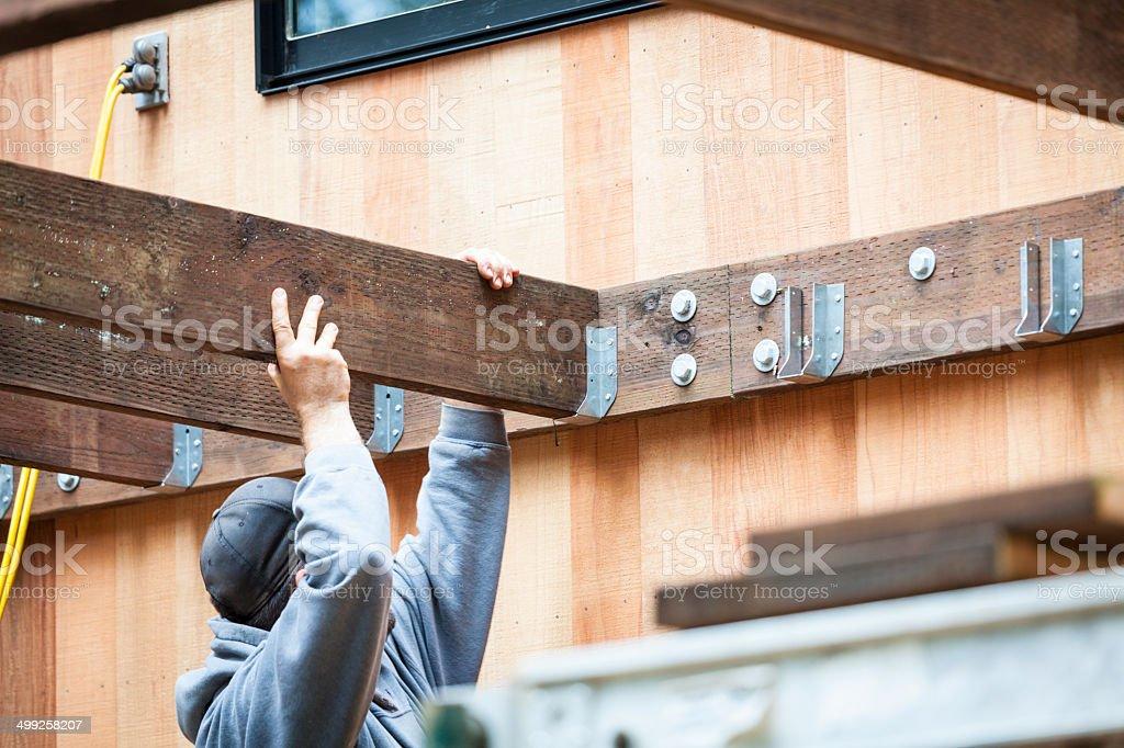 Building a deck stock photo