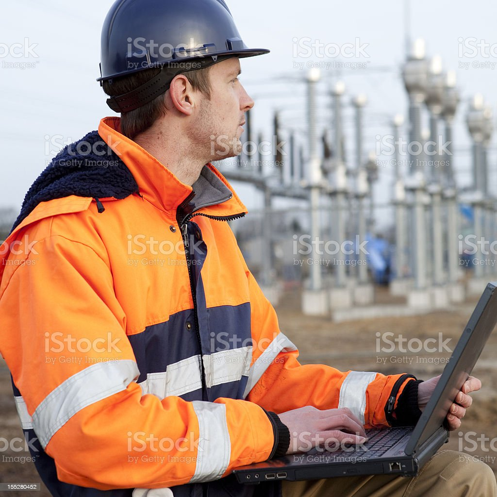 Building a electricity substation royalty-free stock photo
