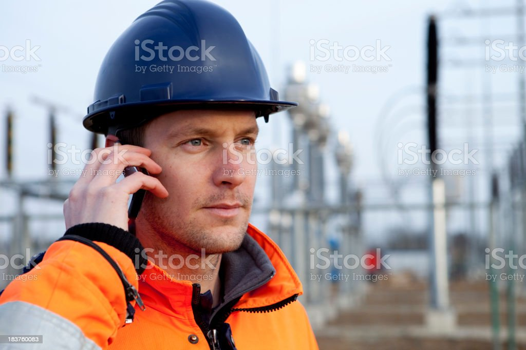 Building a electricity substation. royalty-free stock photo