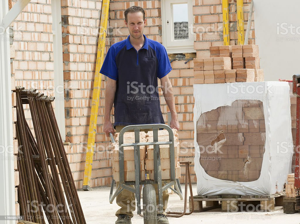Building a house. Bricklayer at work. royalty-free stock photo