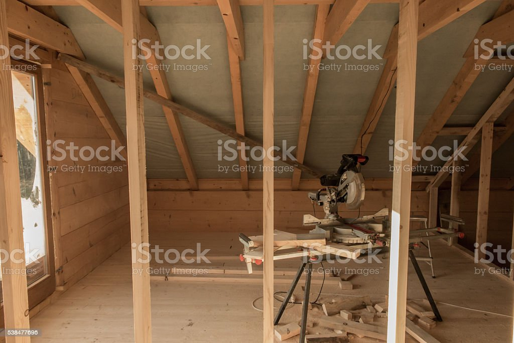 building a house with wooden beams stock photo
