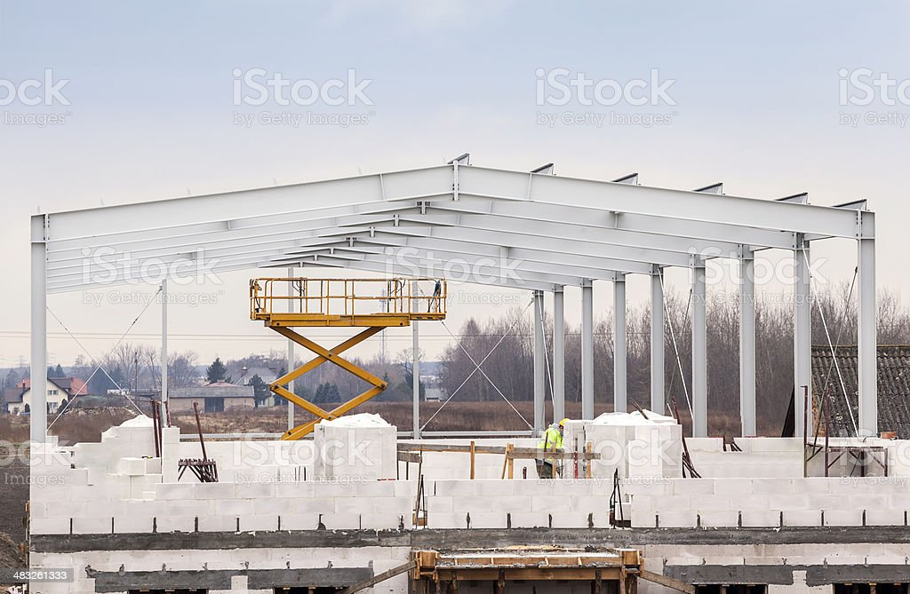 Building a modern warehouse stock photo