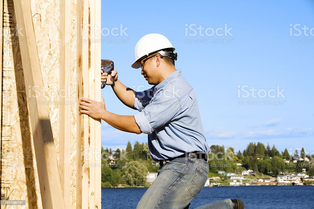 Building a new home for one lucky family! stock photo