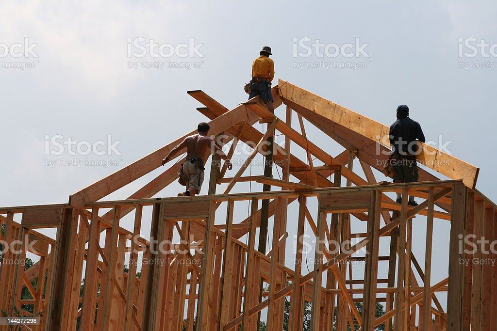 Building A New Home (Roof Work) royalty-free stock photo