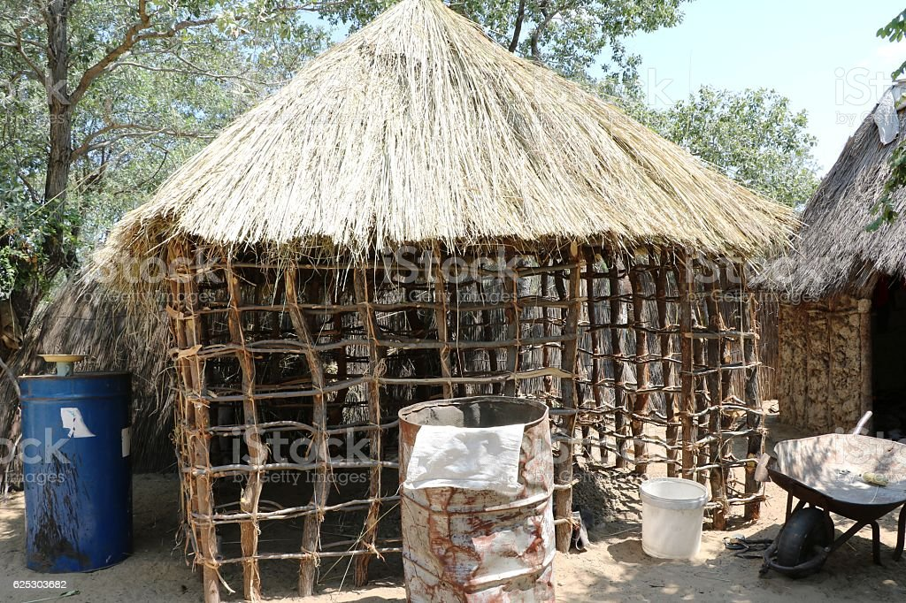 Building a new house of San bushmen in Namibia, Africa stock photo