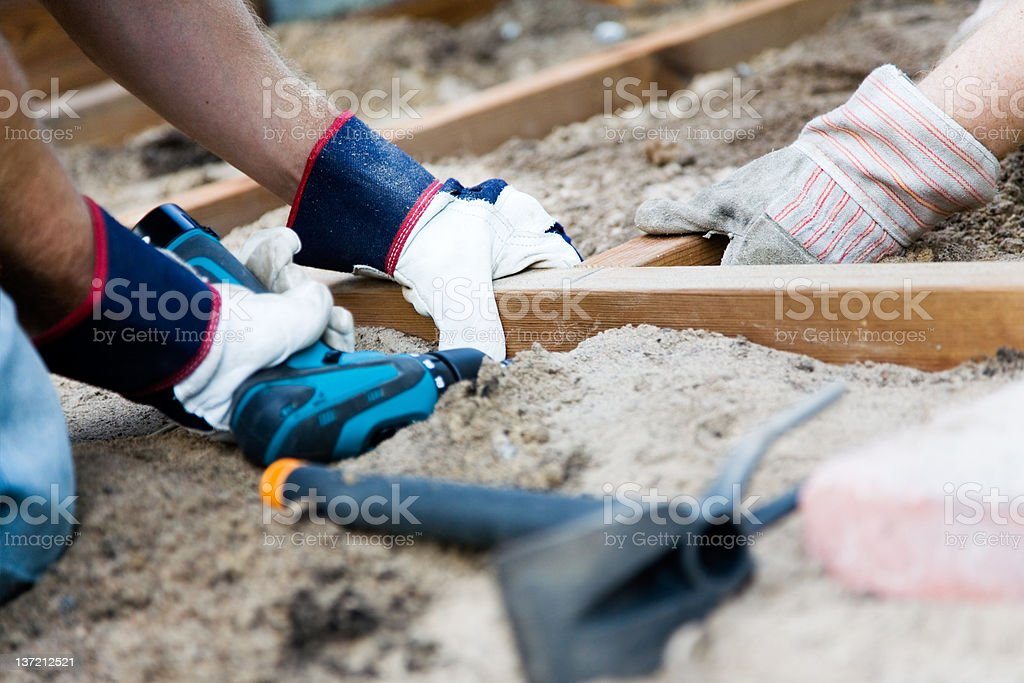 Building a patio royalty-free stock photo