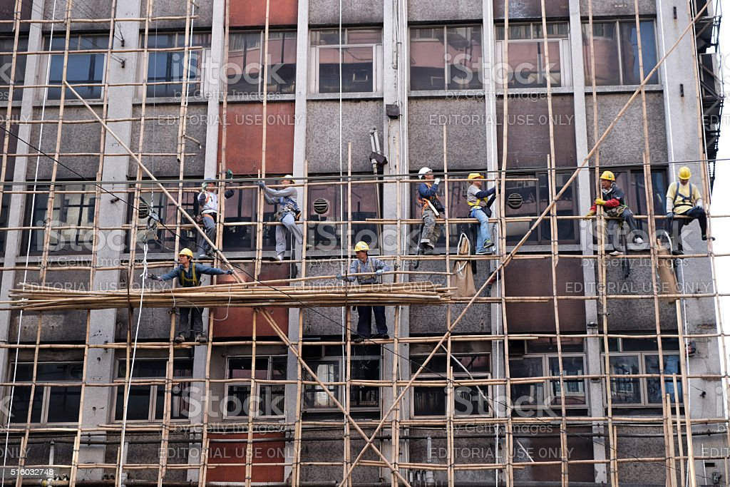 Building a scaffold with bamboo in Hong Kong stock photo