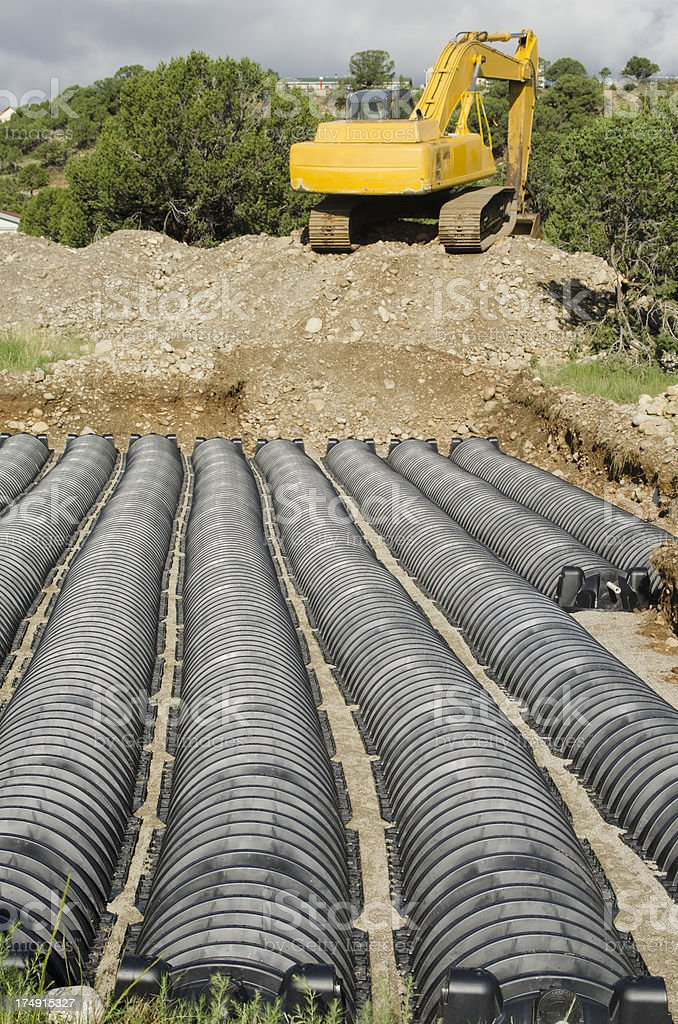 Building a Septic Leach Field royalty-free stock photo