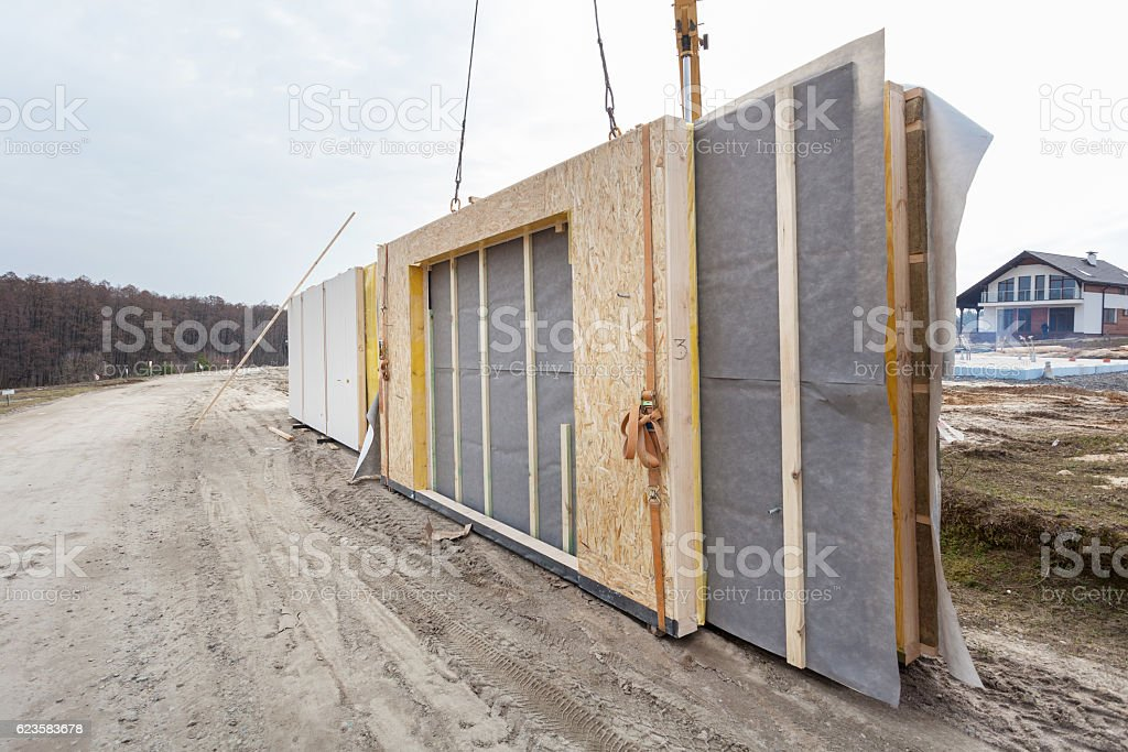 Building a structural Insulated Panels Frame House. stock photo