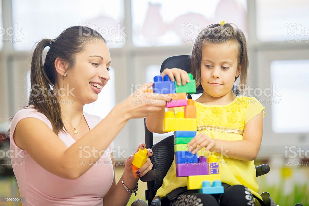 Building a Toy Tower stock photo