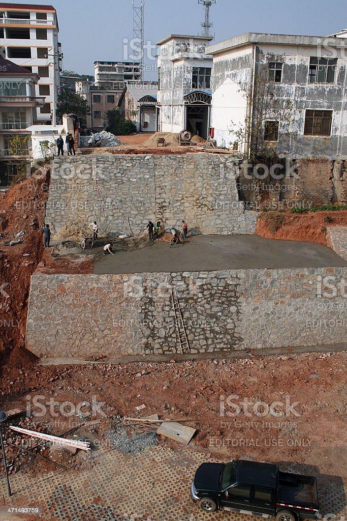 Costruzione di un muro di Ganzhou, Cina foto stock royalty-free