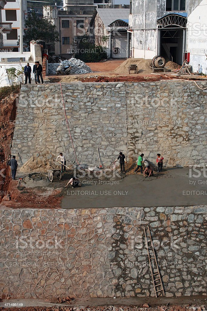 Building a Wall in Ganzhou, China royalty-free stock photo