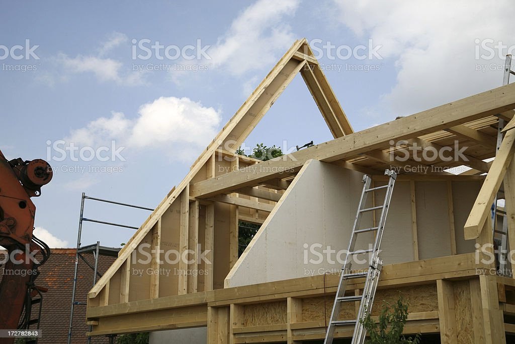 Building a wooden house royalty-free stock photo