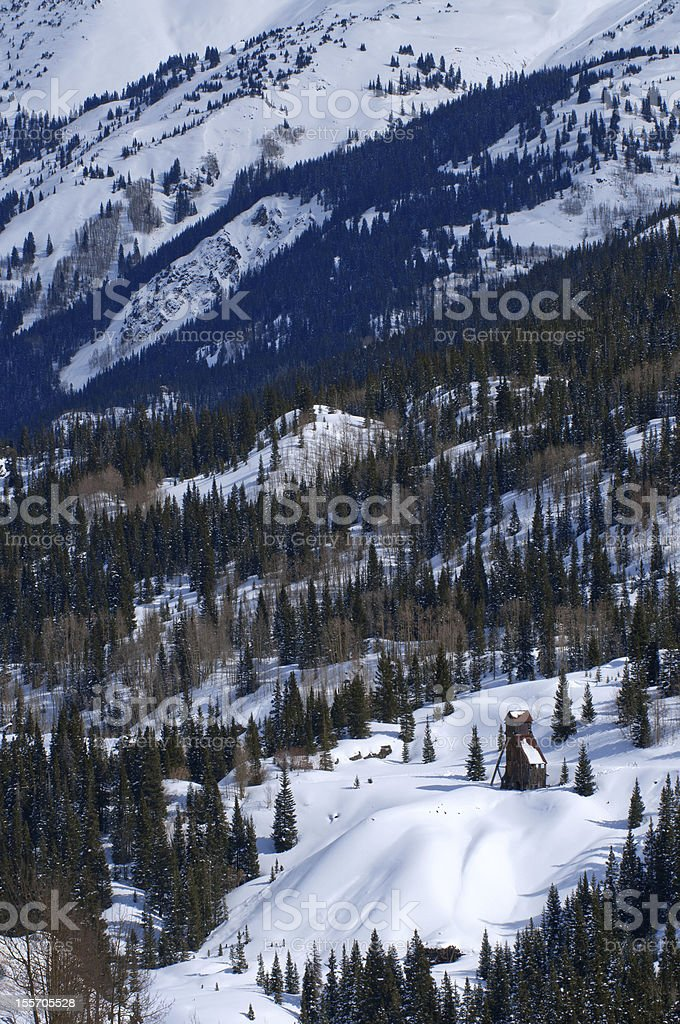 Building among snow stock photo
