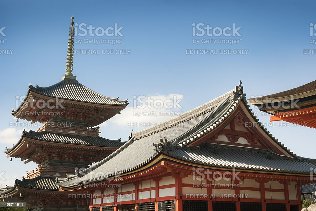 Building and Pagoda on Kiyomizu-dera Buddhist Temple Grounds, Kyoto, Japan royalty-free stock photo