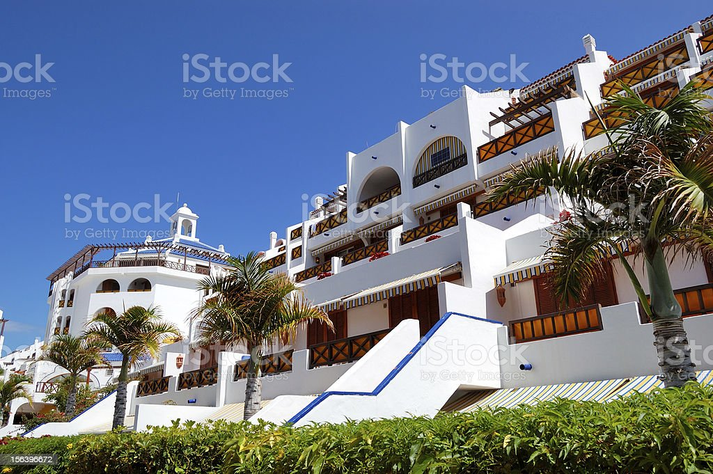 Building and recreation area of luxury hotel, Tenerife island, Spain royalty-free stock photo