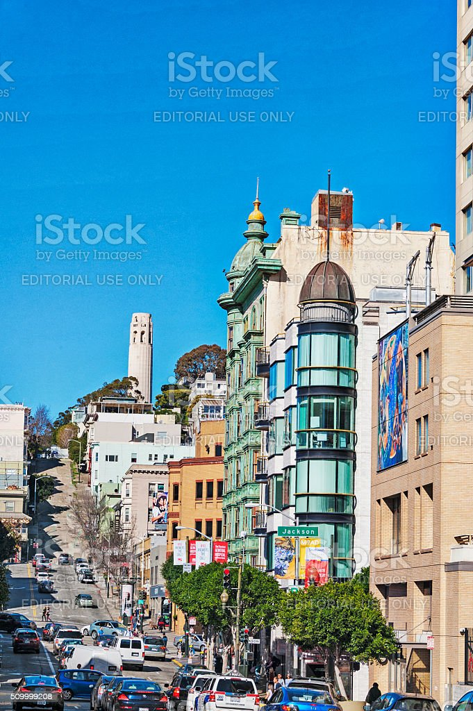 Building and Street views with many people stock photo
