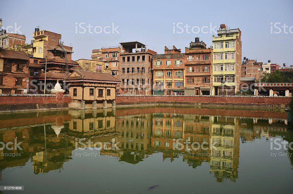 Building and town in Patan Durbar Square stock photo