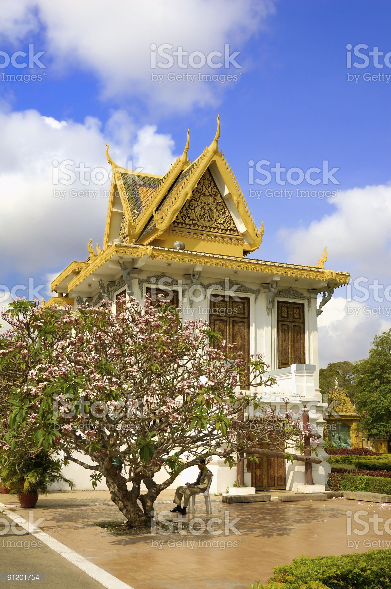 Building and tree  in the Royal palace of Cambodia royalty-free stock photo