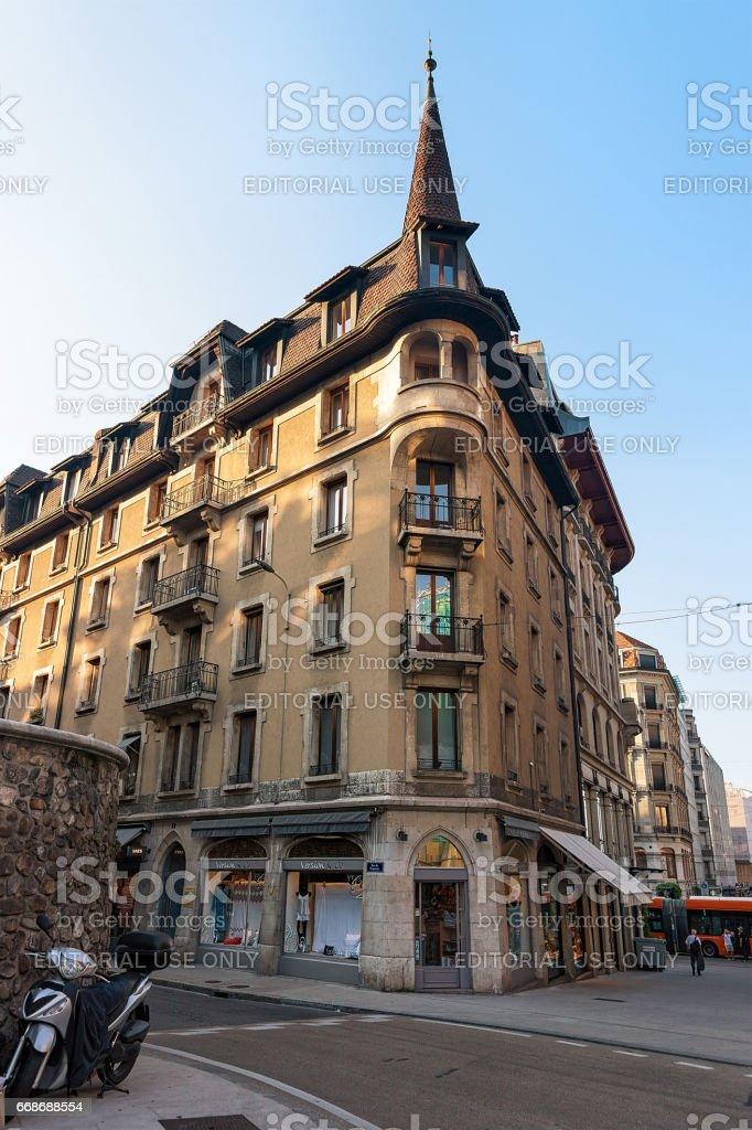 Building architecture on Purgatoire Street Geneva Swiss stock photo